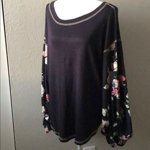 My Story Navy Blue & Floral Sleeves Blouse, L